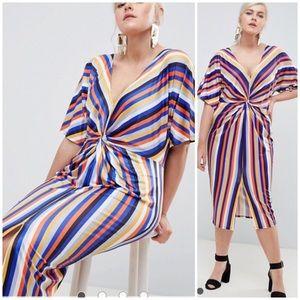 MISSGUIDED Plus Stripe Twist Front Midi Dress 18